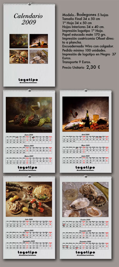 Calendario de pared bodegones