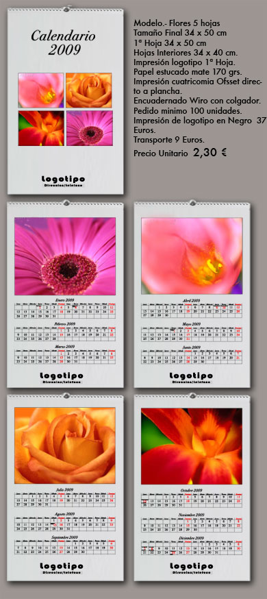 calendarios de pared flores