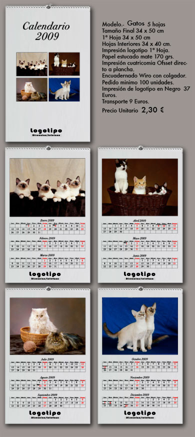 calendarios de pared gatos
